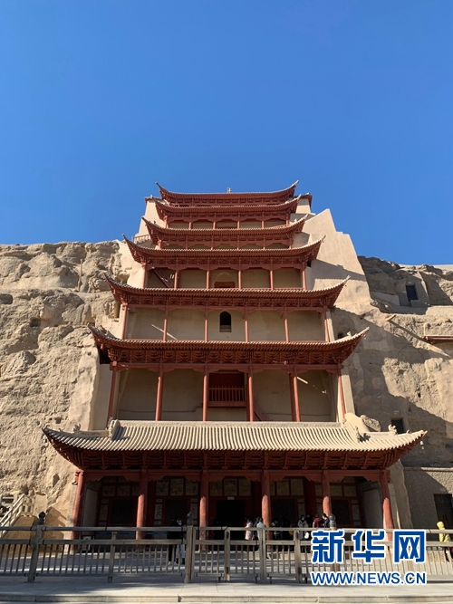 莫高窟标志性建筑九层楼(资料照片)。新华社记者 张玉洁 摄