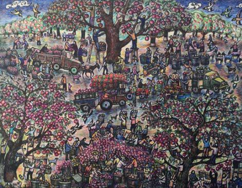 题目:《苹果大丰收》尺寸:100cm×78cm年代:2020年绘画种:农民画彩色笔