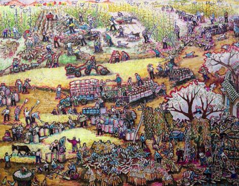 题目:《玉米大丰收》尺寸:100cm×78cm年代:2020年绘画种:农民画彩色笔