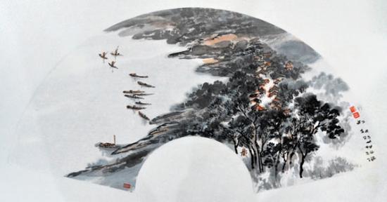 《漓江渔村》70cm×34cm