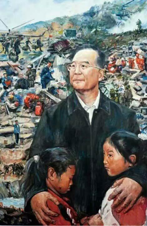 题目:《人民的总理——温家宝》尺寸:150cm×100cm年代:2009年绘画种:油画