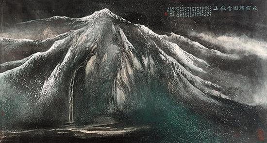 赵磊作品《夜探韩国雪岳山》(赵磊 萧墅)规格:100cmx200cm
