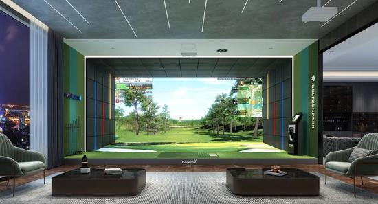 ▲图为GOLFOZN全新一代 TWOVISION PLUS 室内高尔夫模拟器
