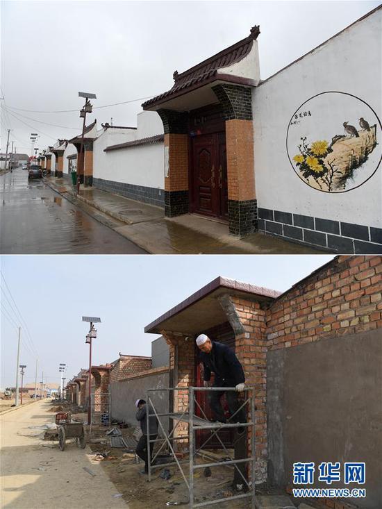 拼版照片:上图为4月21日在甘肃东乡族自治县龙泉镇拍摄的已入住的拱北湾村易地搬迁安置点;下图为2019年3月5日拍摄的建设中的拱北湾村易地搬迁安置点。新华社记者 范培珅 摄