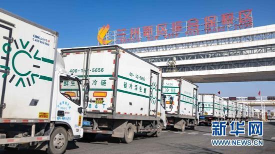 生鲜冷链货车进入兰州新区综合保税区(2020年11月5日摄)。新华社发
