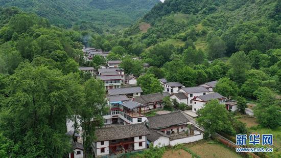 这是5月21日拍摄的甘肃省陇南市康县王坝镇何家庄村风光(无人机照片)。新华社记者 陈斌 摄