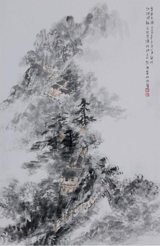 《华岳天桥》68cm×46cm 创作时间 2012年
