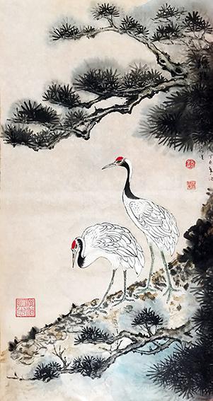 赵珂作品 《苍松自古思高健,寿鹤于今添仙杰》