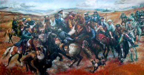 题目:《沸腾的博尔塔拉》尺寸:250cm×150cm年代:2004年绘画种:油画