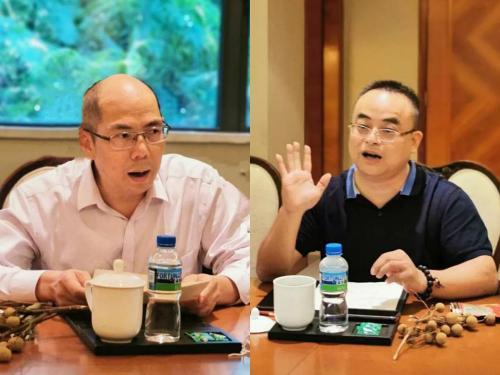 (研讨会嘉宾:黄奕波律师(左)长沙城市合伙人:杨舜泗律师(右))