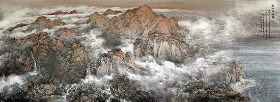名山出海图 620x224 2009年.(青岛市政府会议厅)