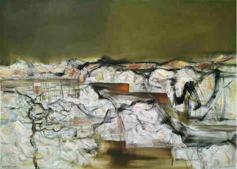 杨老师作品《金色九道湾》80×100cm 布面油画
