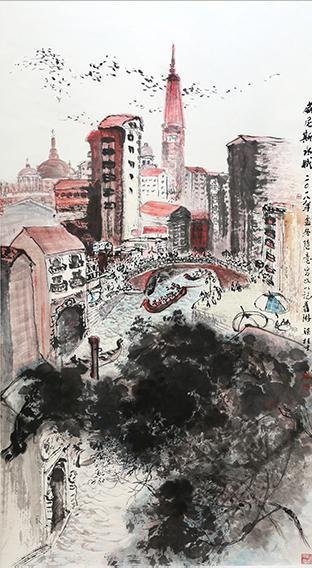 梁桂才作品 《威尼斯水城》