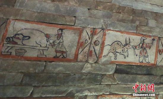 画像砖了反映男墓主人家的生活宴饮场景。高展 摄