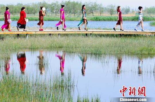 """5月12日,来200多名母亲身穿旗袍在张掖国家湿地保护区表演旗袍秀,展现东方传统女性之美,迎接""""母亲节""""的到来。 王将 摄"""