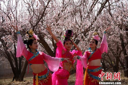 资料图。2016年4月,参加敦煌李广杏花节演出的演员在杏花园中拍照。 张晓亮 摄
