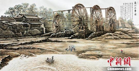 """图为王鸿庆所创作的""""老兰州""""系列国画《兰州水车园》,此画是以翻拍百年前照片为依据。 郝赢 摄"""