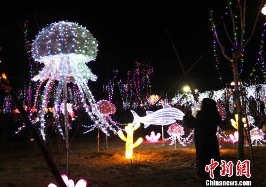 2018年2月1日晚,甘肃永靖迎新春大型彩灯节在黄河之畔开幕。 徐雪 摄