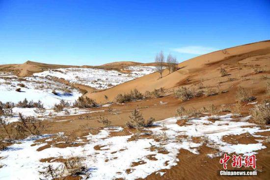 蓝天、黄沙、白雪构成河西走廊别样风景。