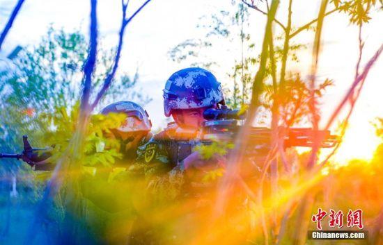"""立夏以来,武警甘肃总队酒泉支队掀起夏季练兵热潮,组织官兵开展战术、障碍、擒敌、体能等多课目训练,检验官兵综合作战能力,为遂行多样化任务奠定坚实基础。图为""""反恐""""训练中隐蔽瞄准。 侯崇慧 摄"""