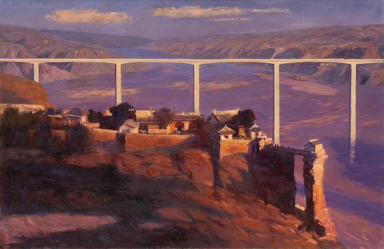 宛少军 古思映长桥 布面油画 130cm×200cm 2020年