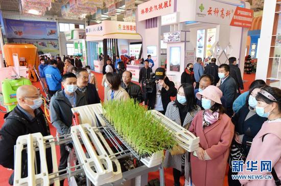 在临夏州举行的现代农业机械展示展销活动上,观众观看农机演示(3月12日摄)。新华社发(史有东 摄)