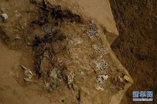 这是2008年拍摄的出土于马家塬西戎墓葬的一辆战国马车车舆侧板。新华社发(甘肃省文物考古研究所供图)