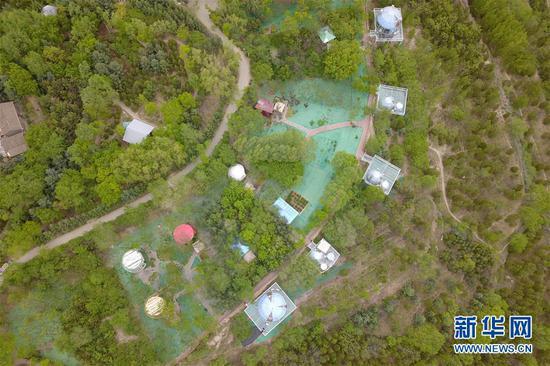 这是5月18日在兰州市城关区拍摄的白塔山公园及周边初夏景象(无人机照片)