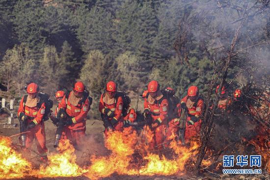"""甘肃:森林消防""""蹈火""""锤炼应急功夫"""