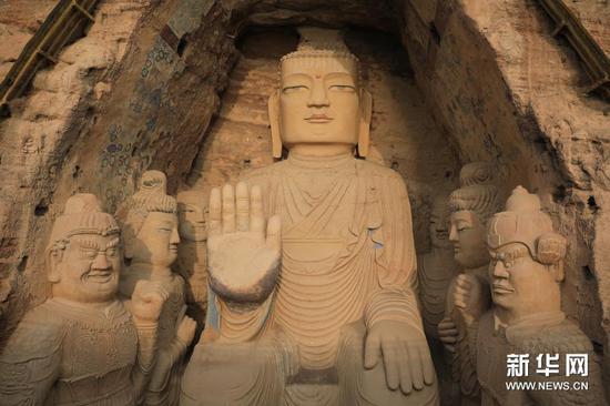 11月19日拍摄的天梯山石窟13号窟。新华社记者 杜哲宇 摄