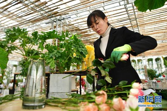 12月8日,兰州新区农投集团工作人员在花卉产业基地交易中心制作花艺展示品。新华社记者 陈斌 摄