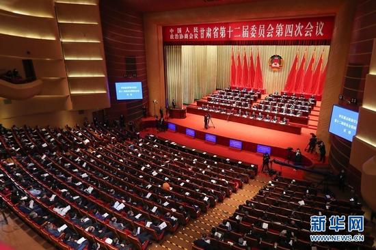 政协甘肃省十二届四次会议开幕式现场。新华社记者 马希平 摄