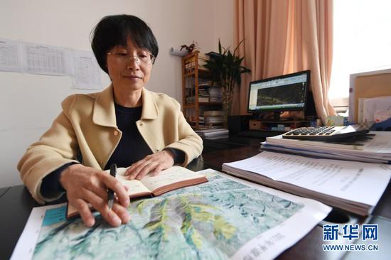 3月11日,在平凉市崆峒区林业技术工作站,张文玉研究植树造林计划。新华社记者 范培珅 摄