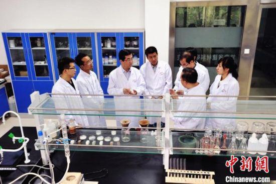 图为甘肃省建材院科研团队商讨研发产品。(资料图)甘肃科技集团供图