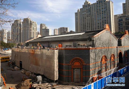 这是正在施工中的中共一大纪念馆(1月14日摄)。新华社记者 刘颖 摄