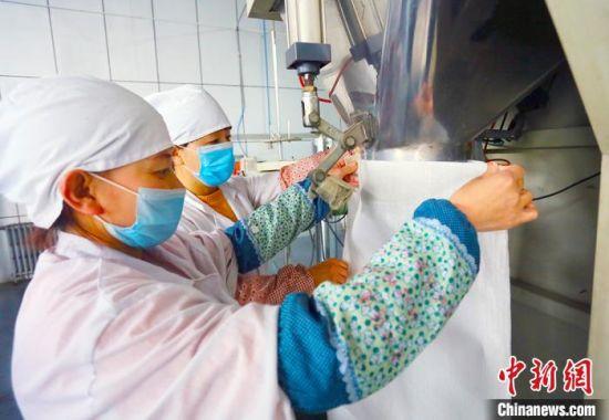 庆阳中庆农产品有限公司生产车间里工作人员正在加工农特产品。