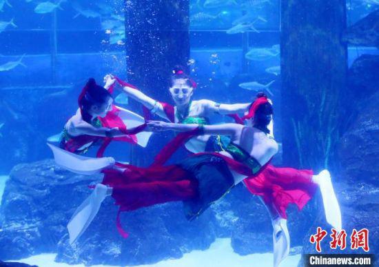 """近日,兰州极地海洋世界三位""""美人鱼""""表演""""海底飞天"""",吸引众多游客观看。 高展 摄"""