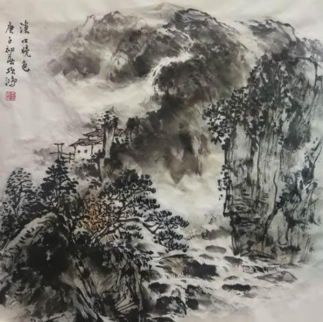 《溪口晓色》68cm×68cm 2020年