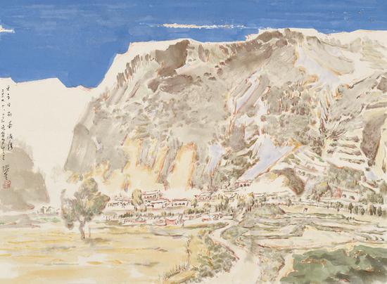 王跃奎 碛口写生之三 纸本设色 39cm×53cm 2020年