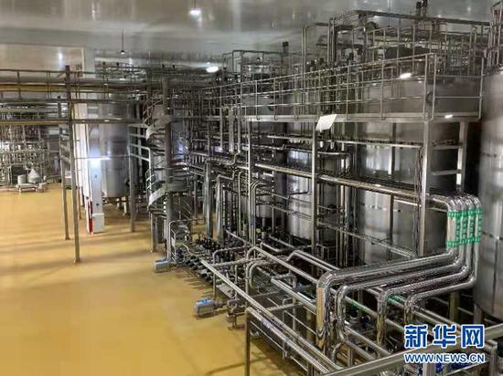 伊利绿色生产及智能制造示范应用项目投产现场。新华社记者龚哲摄
