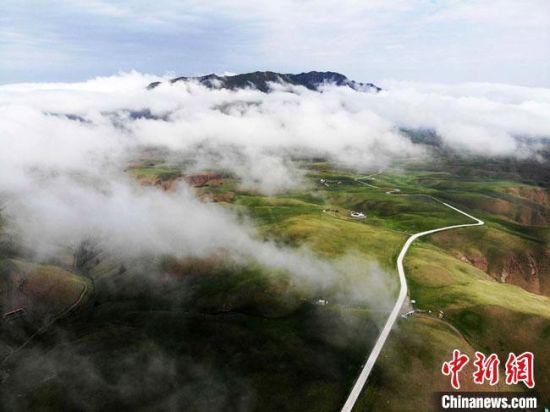 夏日,甘肃张掖市肃南县祁连山区雨后云雾缭绕似画卷。(资料图) 杨艳敏 摄