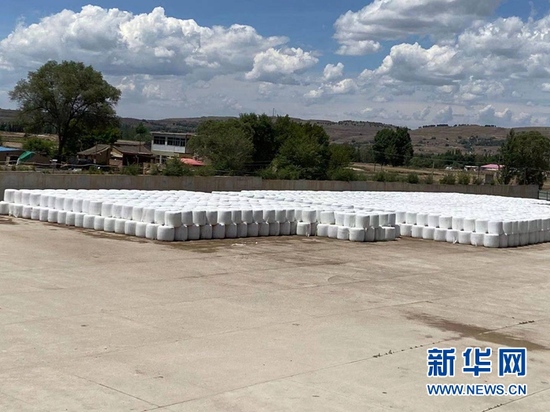 在定西市安定区香泉镇,打包的青贮饲草堆满货场。新华社记者 王朋 摄