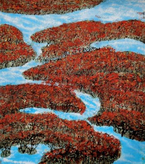 《雪白雪红》68cm×68cm