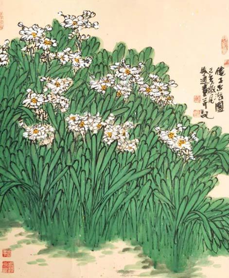《仙子出浴图》46cm×68cm