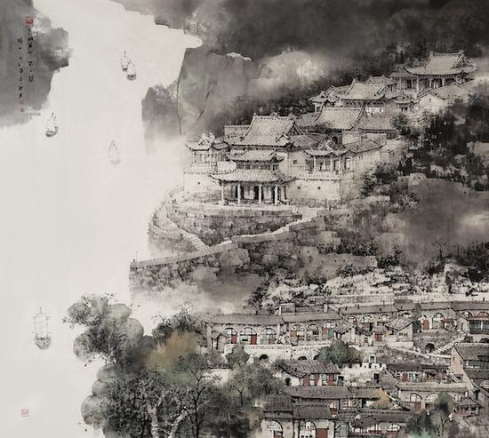 刘建 九曲黄河第一镇·碛口 纸本设色 220cm×200cm 2020年