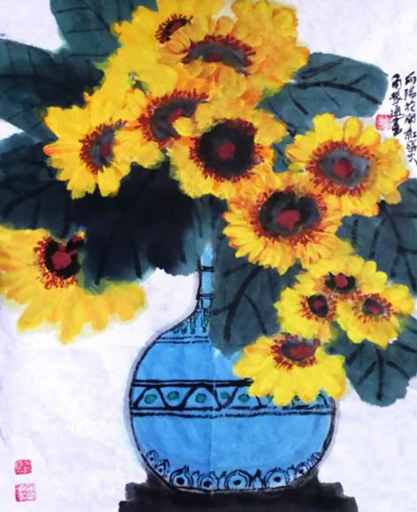 《向阳花开红盛火》46cm×68cm