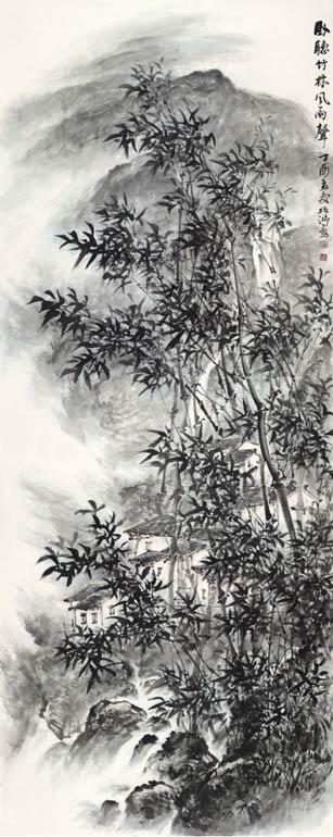 《卧听竹林风雨声》365cm×145cm 2017年