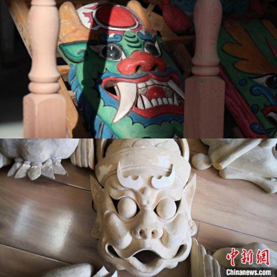 """傩面具是傩文化中傩祭、傩仪时使用的道具,又被称为""""刀尖上的古老表情""""。图为未上色和已上色的傩面具对比。 闫姣 摄"""