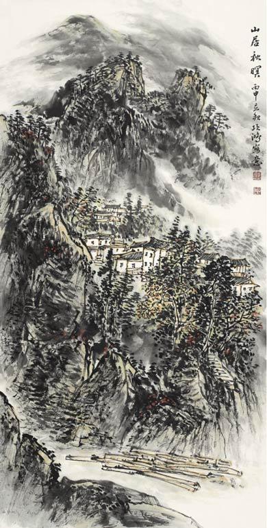 《山居秋暝》138cm×68cm 2016年