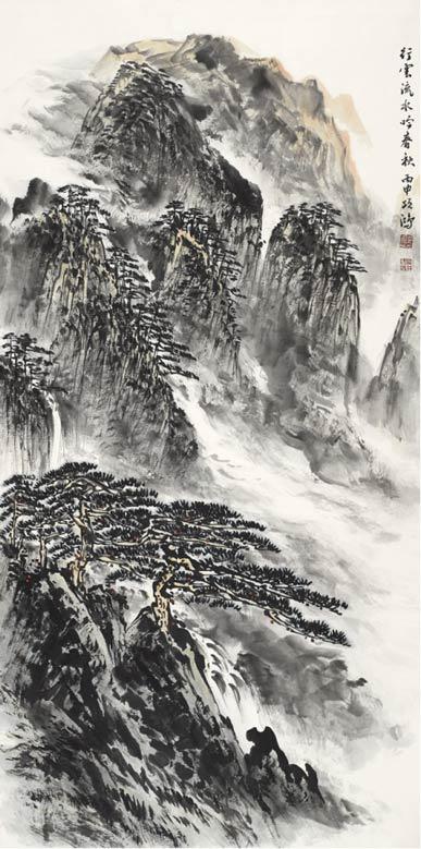《行云流水吟春秋》178cm×97cm 2016年